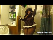 Thick Ebony Woman Teasing In A Bathroom
