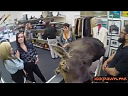 Lesbian couple fucked by nasty pawn guy in storage room