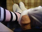 cum on striped long socks