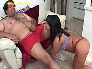 brunette sucks the hairy fat guy