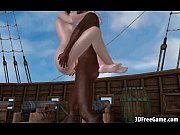 Ebony cock is fucking a 3D big tit pirate babe
