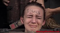 Young hogtied sub whipped while mouth gagged thumb