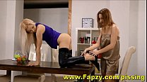 Blazing Hot Euro Teens In Lesbian Pissing Games