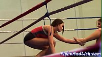Busty beauties love wrestling while naked Thumbnail