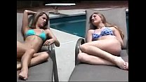 Aurora and Petra poolside