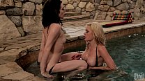 Ashley and Riley take turns eating each other out in the hot tub