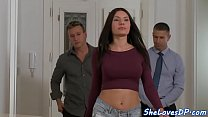Busty babe pounded in threeway sex