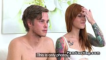 Bf bangs inked redhead in casting with female a... Thumbnail