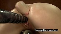 Hot brunette fucks machine and fists ass Thumbnail
