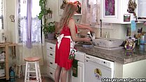 mom gets overwhelmed by her throbbing pussy in the kitchen