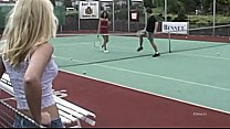 Sexy girls banged on the tennis court