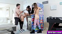 Horny arcade girls get down and start sucking t...
