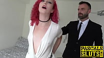 Hot redhead Charlie Ten roughly banged by fat p...
