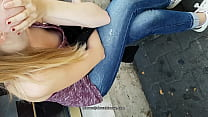 downblouse girls in street public thumb