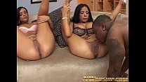 hot threesome for two young girls and a big bla...