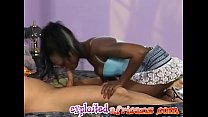 Pretty ebony babe gives head and banged in doggy