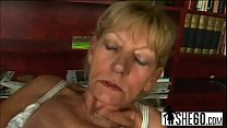 Dirty blonde grandma gets fucked before sucking...