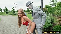 Living statue fucks cock hungry slut with his h...