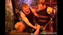 Hot stud gets ball bashing from 2 dudes. - download porn videos