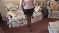 Busty mature babe in mini skirt and stockings s...