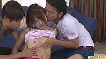 Megumi Shino gets a cute japanese creampie from two