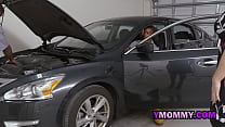 Horny milf blows on the mechanics as they fix h...