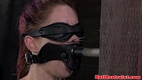mouth gagged skank gets nose treatment