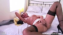 Sexy French Milf wanks hairy pussy in garter vi...