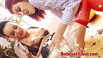 Lesbian Secretaries Ass Linking & Toy Playing in Food