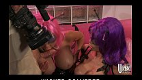two sexy busty babes in costume toy each other and share hard cock