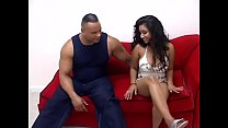 Hot chick Exotic T gets stripped and pussy eateb and fucked on the sofa