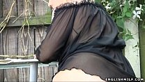big butt milf in stockings flashing ass outdoors