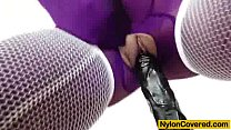 Riding a dildo in pantyhose