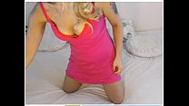 Blonde milf shows pink thong on webcam