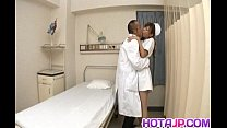 Aya hot nurse takes uniform off to suck and str...