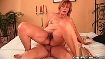 plump grandma fucks her toy boy s cock with her unshaven pussy