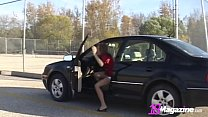 Young Adorable Andi Pink Fingers Herself In Public Car Lot!