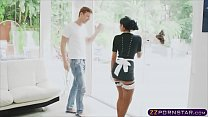 Maid strip down and coat up her luscious tits w...