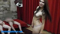 raven teen gives bj and fucks hard in threesome