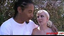 Blond babe double stuffed by black dicks