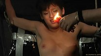 Short hair teen gets candle wax on her tits and...