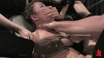 Slut under heavy slapping and fucking in extreme public bondage sex