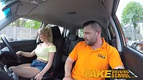 Fake Driving School Big tits blonde gets fucked and cum splattered glasses