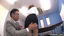 Japanese office lady got her holes toyed by two...