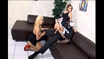 maid threesome in uniform and fishnet stockings