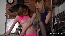 Kinky lesbian sex kittens are spreading and fis...