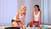 Lovely girls Samantha and Taylor goes lesbo sci...