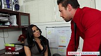 Office babe Luna Star riding cock