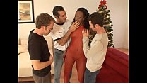 Ebony chick gets two white cocks dp)