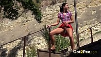 Desperate To Pee - Eurobabe relieves herself ou...